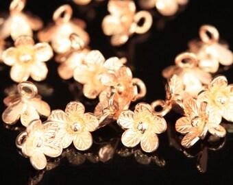 KZ-050 thai karen hill tribe handmade silver 8 rose gold vermeil mini flower charm