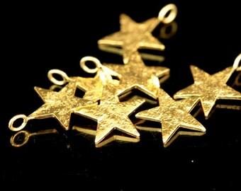 KG-068 thai karen hil tribes silver 4 gold vermeil die cut star shape charm 14.0 mm.