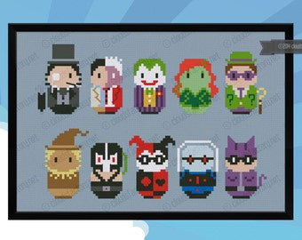 Batman's enemies parody - Cross stitch PDF pattern