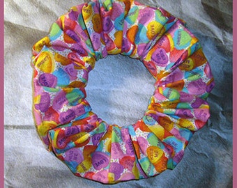 Conversational Hearts Candy Hair Scrunchie, Hair Tie, Fabric Ponytail Holder