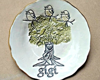 GIGI with 3 Birdies Ceramic Trinket Bowl  eded in gold Mothers Day Gift