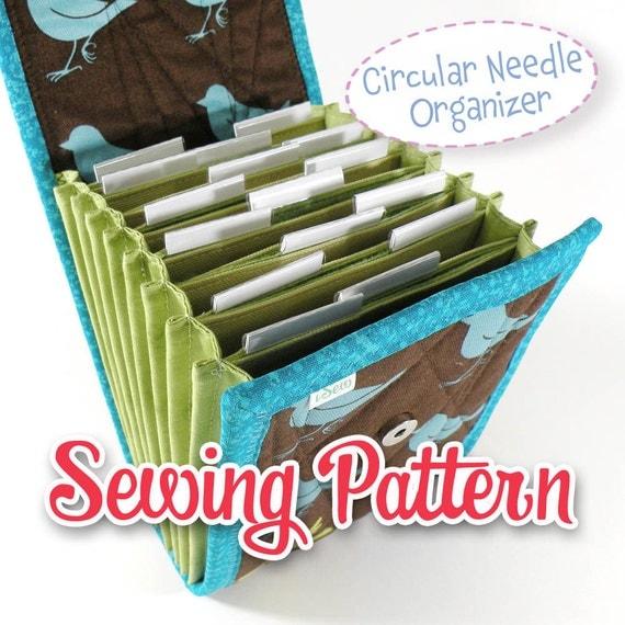 Circular Knitting Needle Case Sewing Pattern : PDF SEWING PATTERN Circular Needle Organizer Knitting Needle