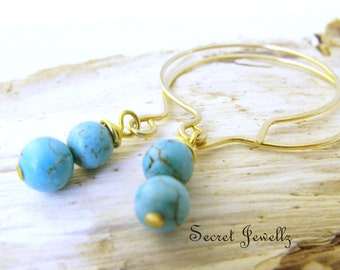 Turquoise Earrings, Gold Hoop Earrings, Blue Earrings, Boho Chic, Brass Hoop Earrings, Bead Dangle Earrings, Hammered Hoop Earrings