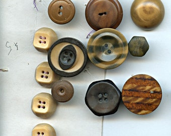Lot of 13 Antique Vintage Vegetable Ivory Buttons various sizes and colors 9531