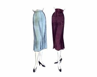 1950s Misses Skirt Vogue 7175 Vintage Sewing Pattern Inverted Pleat Shaped Belt Waist 26 Hip 35