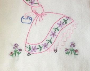 Vintage Hand Embroidered Flour Sack Towel , Embroidery design SunBonnetSue PINK Dress  1 towel