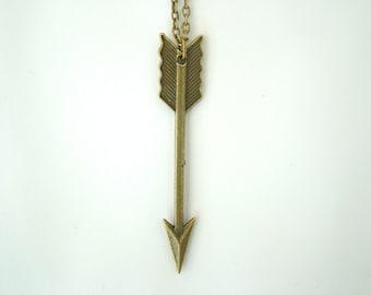 Antique Bronze Arrow Necklace