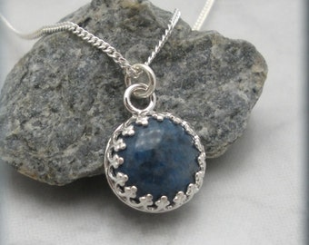 Denim Lapis Necklace, Lapis Jewelry, Sterling Silver, Blue Jewelry (SN858)