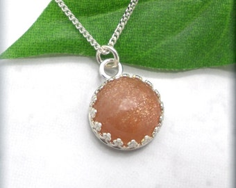 Sunstone Necklace Peach Gemstone Jewelry Sterling Silver (SN864)