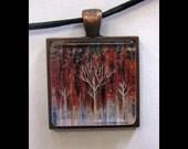 Pendant with Leather Band, Art, Jewelry, Necklace, Print, Karina Keri-Matuszak, Abstract Landscape, Tree