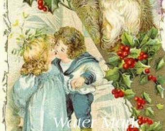 Santa with children kissing*Instant Digital Download* tags, gift tag, price tags.greeting cards,thank you cards, frame