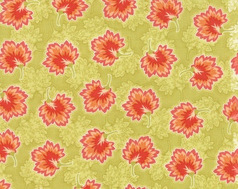 SALE - Somerset - Geraniums in Artichoke Green: sku 20238-13 cotton quilting fabric by Fig Tree for Moda Fabrics - 1 yard