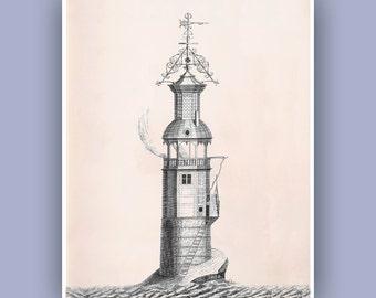 Lighthouse Art, Nautical art, Vintage Light house print, blue print, Eddy Stone Lighthouse, gift for sailors, beach cottage decor, 11x14