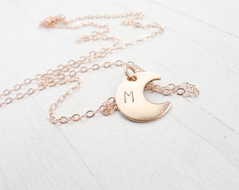 Rose Gold Moon Necklace Celestial Jewelry Rosegold Necklaces Moon Monogram Necklace Initial Charm Personalized Gift for Sister Gifts for Mom