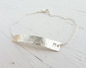 Skinny Bar Bracelet - Petite Initial Bar Bracelets Monogram Sterling Silver Bar Bracelet Hammered Jewelry Custom Letter Gift for Friend