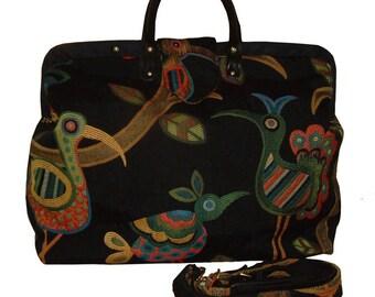 Crazy Birds Tapestry Carpet Bag