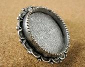Ornate Medium Circle Screw Back Bezel Frame Antiqued Silver Finish