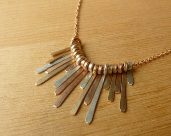 Fringe Necklace - Mixed Metals Rose