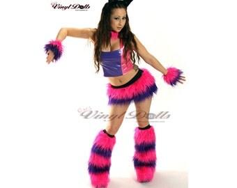 Rave Wear Cheshire Cat Costume Pink Purple Fur - Furry Skirt, Cuffs, Leg Warmers, Choker