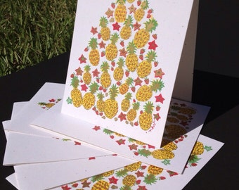 Festive Pineapple Holiday Card / box of 6 cards