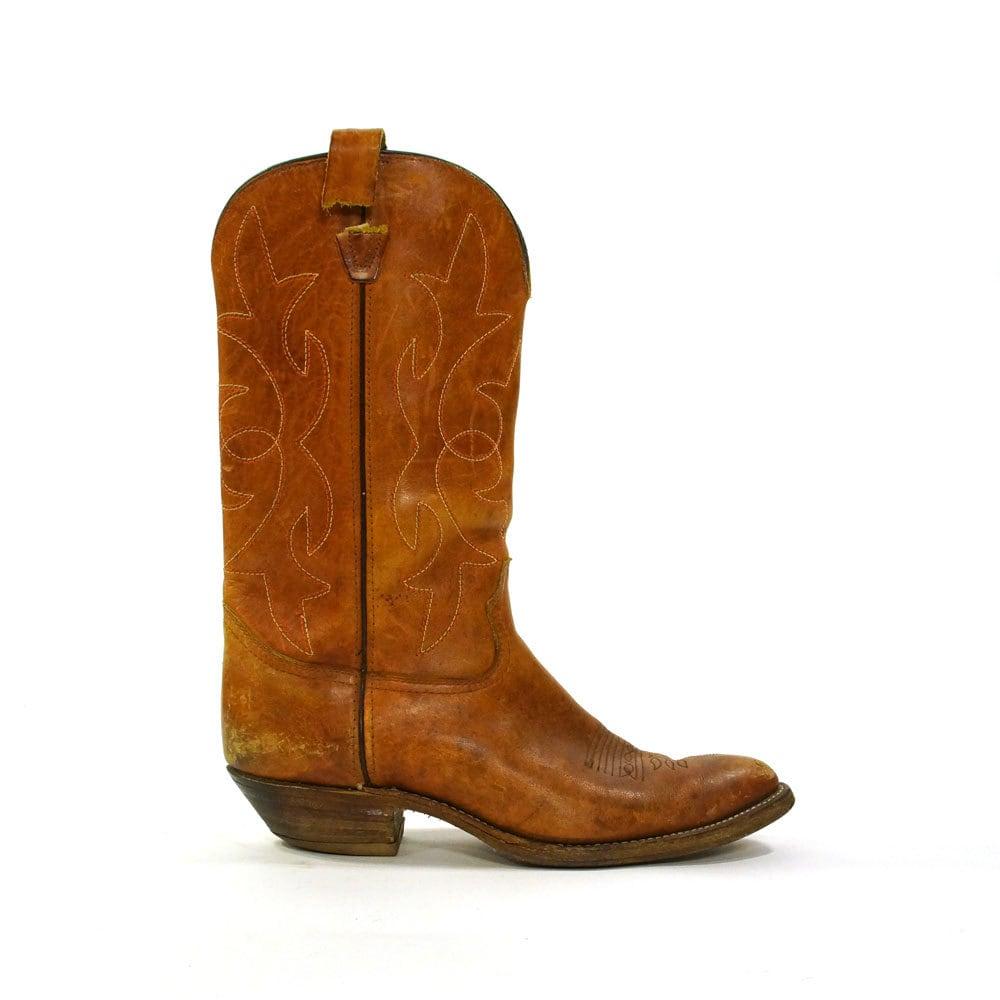 vintage cowboy boots brown leather s size 12