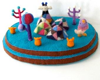 Crystal mountains, soft sculpture, hand made, one of a kind, wool, felt, needle felt, original art, decoration
