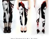 LEGGINGS - Clothing - Women - Yoga - Misses - Juniors - Fashion - featuring artwork Pour by Aja S M L choose size Women clothing
