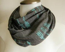 Turquoise Arrows Scarf, Infinity Scarf, Boho, Circle Scarf, Hand Screen Printed, Gift for Women, Charcoal Grey & Turquoise, Soft Rayon Knit
