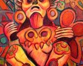 Aztec Xochipilli God Prince of Flowers UV Hallucinogenic Psychedelic Original Mixed Media Drawing Illustration Black Light Reactive Art