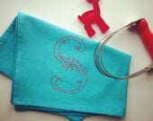 custom hand-embroidered monogram tea/dish/hand towel - turquoise towel, white, ecru, or red stitching - your letter