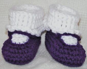 Crochet  MaryJane Baby Booties Purple Size 3 to 6 months