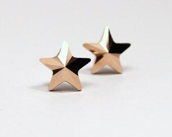 Rose Gold Star Stud Earrings Swarovski Crystal Golden Pink Sterling Silver Post Celestial Shooting Galaxy Night Sky Milky Way Solid Metallic