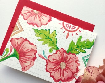 CORAL FLORAL Note Card