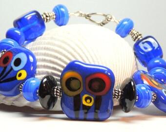 LAPIS LILIES Handmade Lampwork Bead Bracelet