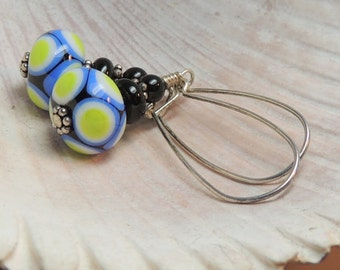 LONG DANGLE Handmade Lampwork Bead Earrings