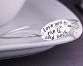 Love You to the Moon and Back Bracelet, Personalized Holiday Gift for Daughter, Sterling Silver Bangle