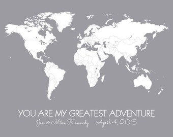 Personalized World Map Poster - You Are My Greatest Adventure - DIY Travel Map Print Pins/Stickers, Wedding, First Anniversary Gift for Him
