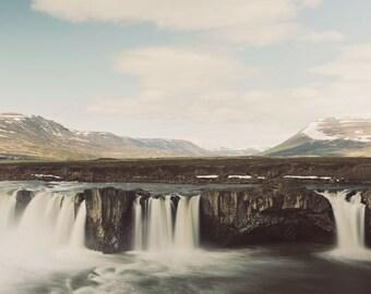"Godafoss Waterfall in Iceland, Mountain, Landscape Photography, Nature Art, Wall Decor, Fine Art Print, ""Vertical Drop"""