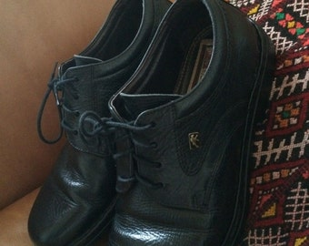 Vintage 90s Shoes Black Leather Oxford Fluchos  Rubber Soles Mens 42 Euro 8.5 to 9 US