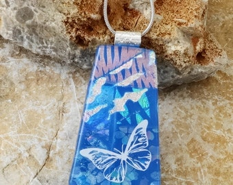 Butterfly Pendant, Summer Jewelry, Blue Dichroic Pendant, Fused Glass Jewelry, Dichroic Glass Slide, Blue Glass Necklace - Blue Glass Slide