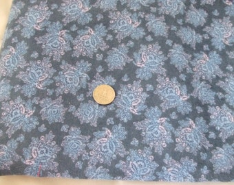 Blue and Purple Paisley Cotton Flannel Fabric - Destash