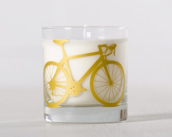 Gold Bike Candle - Tuscan Winter - Soy candle in reuseable screen printed bicycle rocks glass