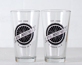 "CUSTOMIZED PINT GLASSES - ""Spokes"" design screen printed 16oz. drinking beer glass"