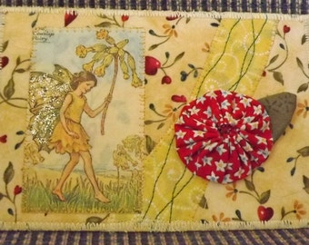 Fairy fabric postcard. Yellow fairy postcard. Fabric postcard.