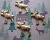 Moose Charms Christmas Moose Satiny Brass Finish Christmas Findings on Etsy Quantity Choice