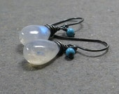 Rainbow Moonstone Earrings Turquoise Earrings Oxidized Sterling Silver Earrings