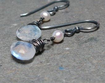 Moonstone Earrings White Pearl Earrings Oxidized Sterling Silver Earrings Dangle Earrings