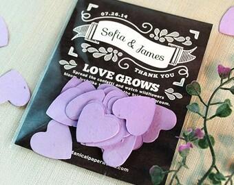 25 Chalkboard Heart Confetti Seed Paper Wedding Favors