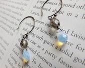 crystal earrings in gray and cream - gunmetal earrings - opalite and crystal earrings - oxidized silver earrings - hudson opal earrings