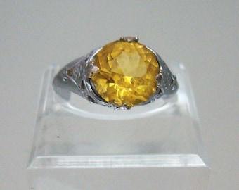 Art Deco Design Costume Ring Yellow Stone Vintage